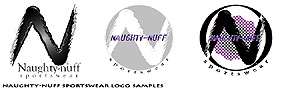 click for larger view of Naughty-nuff Sportswear logo samples